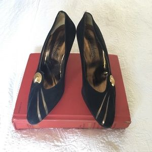 Vintage Italian Suede Heels Pumps Black Gold